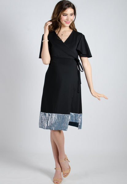 Black Mermaid Pleated Nursing Wrap Dress