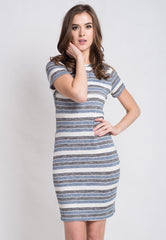 Blue Stripes Knitted Nursing Dress  by Jump Eat Cry - Maternity and nursing wear