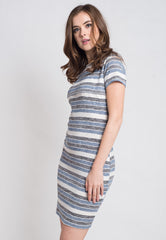 Stripes Knitted Nursing Dress in Blue  by Jump Eat Cry - Maternity and nursing wear