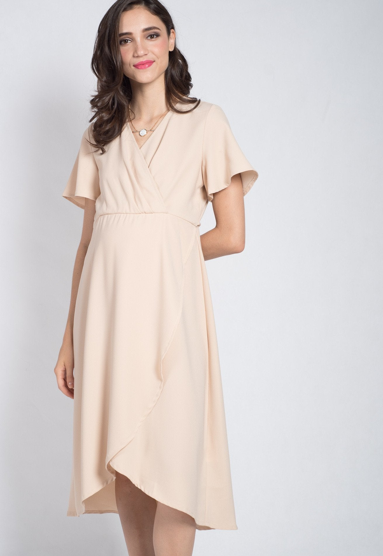 Mothercot Beige Luciana Office Nursing Dress  by JumpEatCry - Maternity and nursing wear