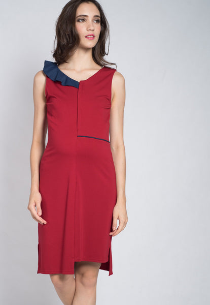 Red Aerial Frills Nursing Dress