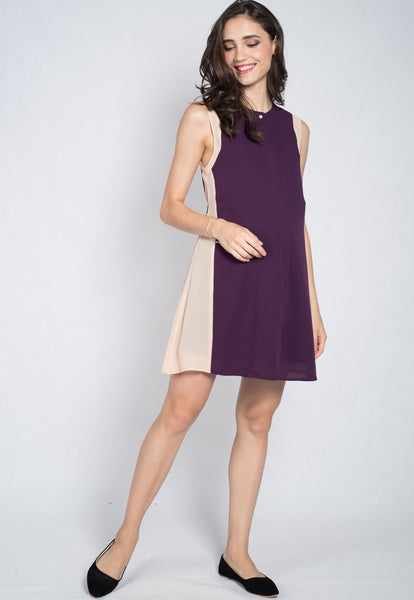 Violet Contrast Nursing Dress