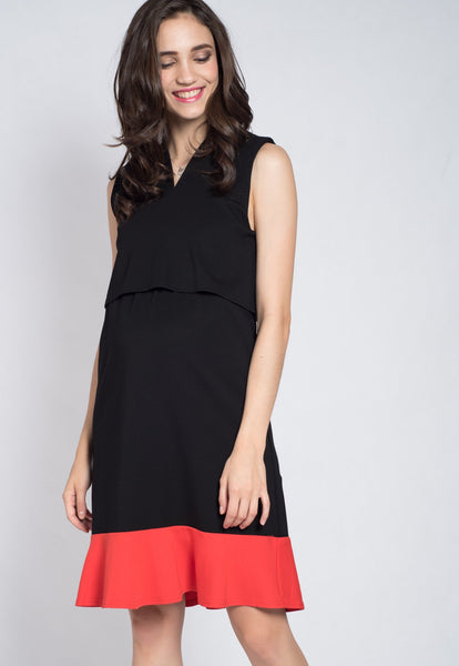 Black Lift Up Nursing Dress