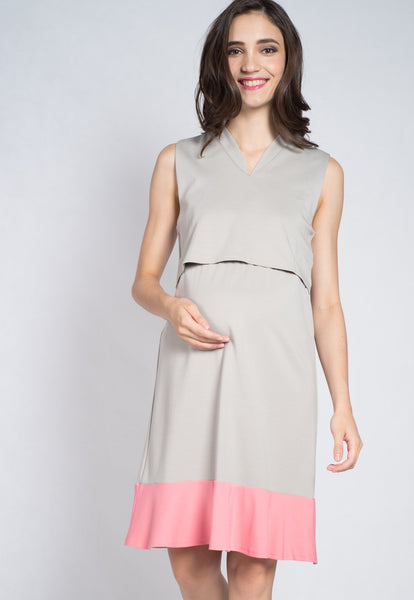 Grey Lift Up Nursing Dress