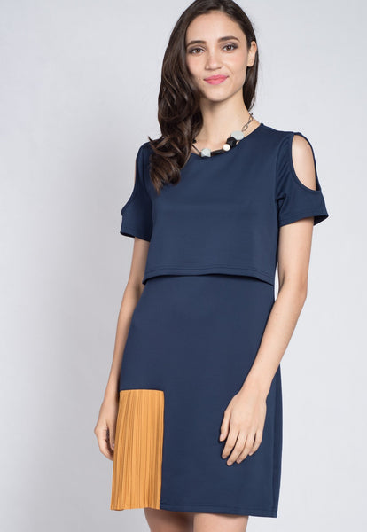 Cutout Side Pleats Nursing Dress