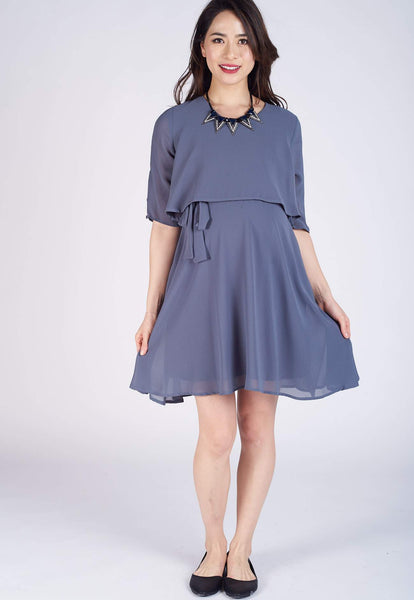 Dark Grey Autumn Nursing Dress