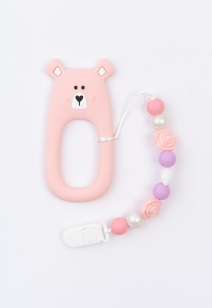 Little Bearnie Baby Teething Clip Set - Shy Bear (Pink)