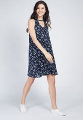 Navy Built In Choker Nursing Flare Dress