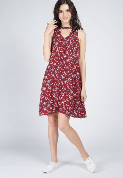 SALE Wine Built In Choker Nursing Flare Dress