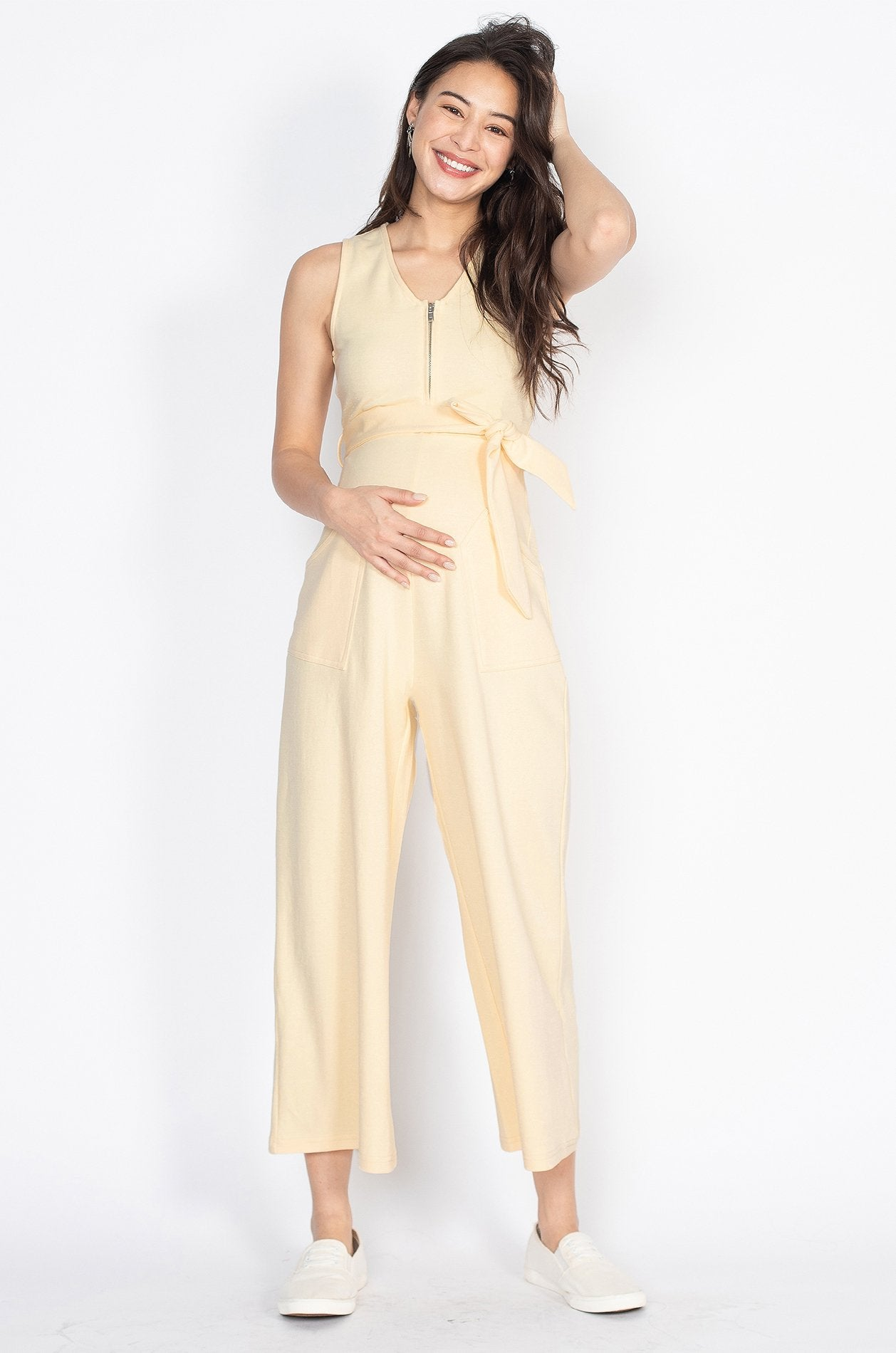 Kiara Nursing Jumpsuit in Pastel Yellow  by Jump Eat Cry - Maternity and nursing wear