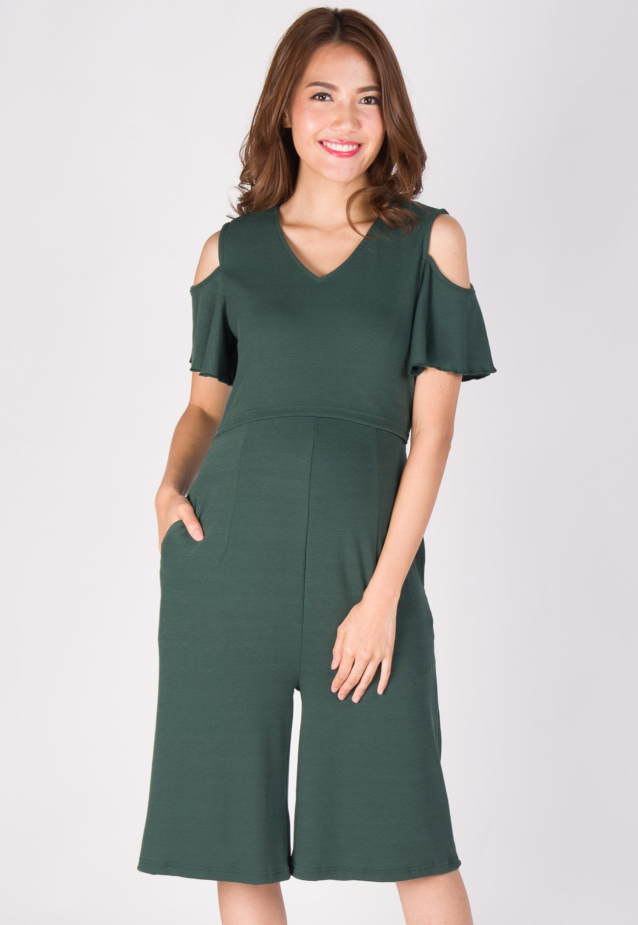 Kara Cold Shoulder Nursing Jumpsuit in Forest Green  by Jump Eat Cry - Maternity and nursing wear