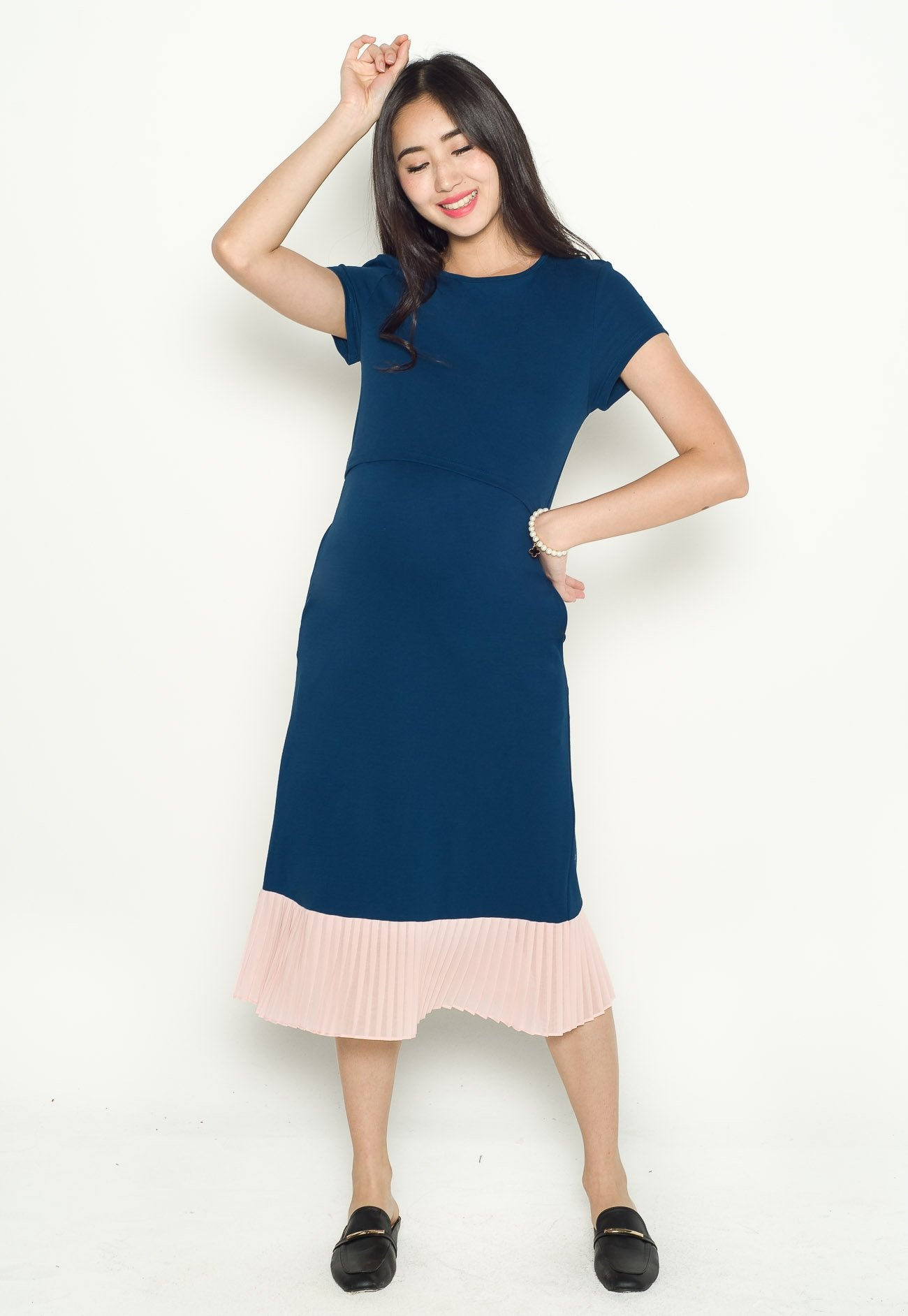 Karla Pleated Nursing Dress in Blue  by Jump Eat Cry - Maternity and nursing wear