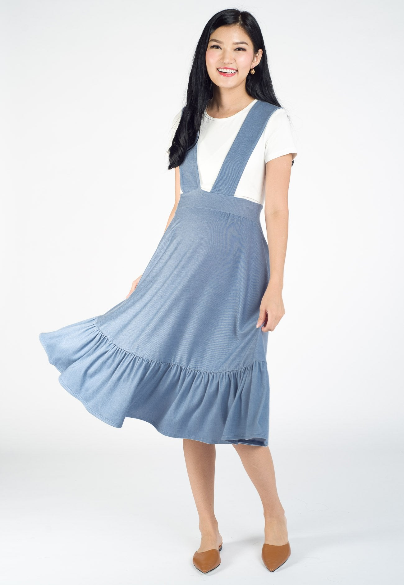 Kyle Overall Nursing Dress in Blue Nursing Wear Mothercot