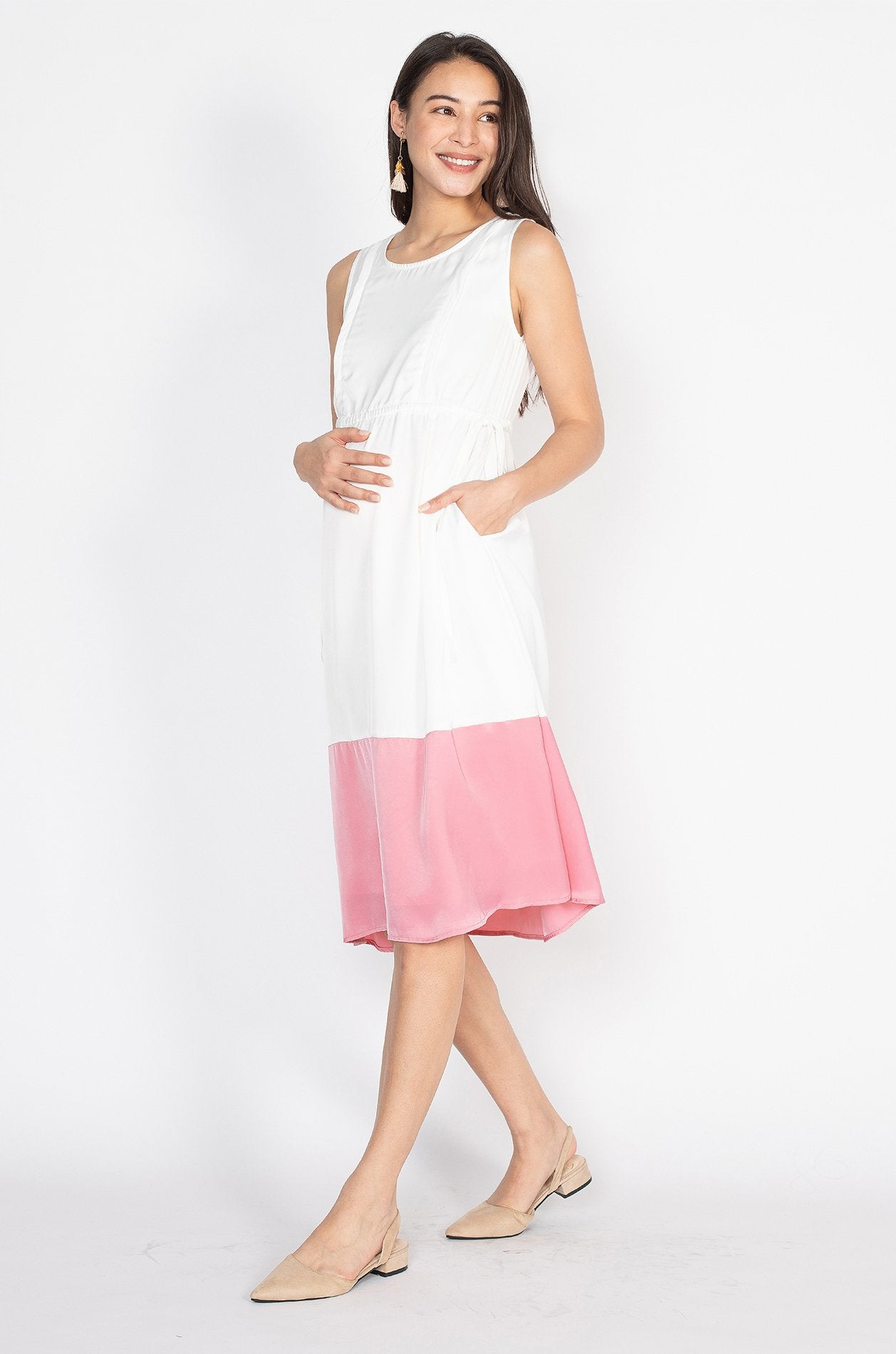 Lindy Color Block Nursing Dress in White  by Jump Eat Cry - Maternity and nursing wear