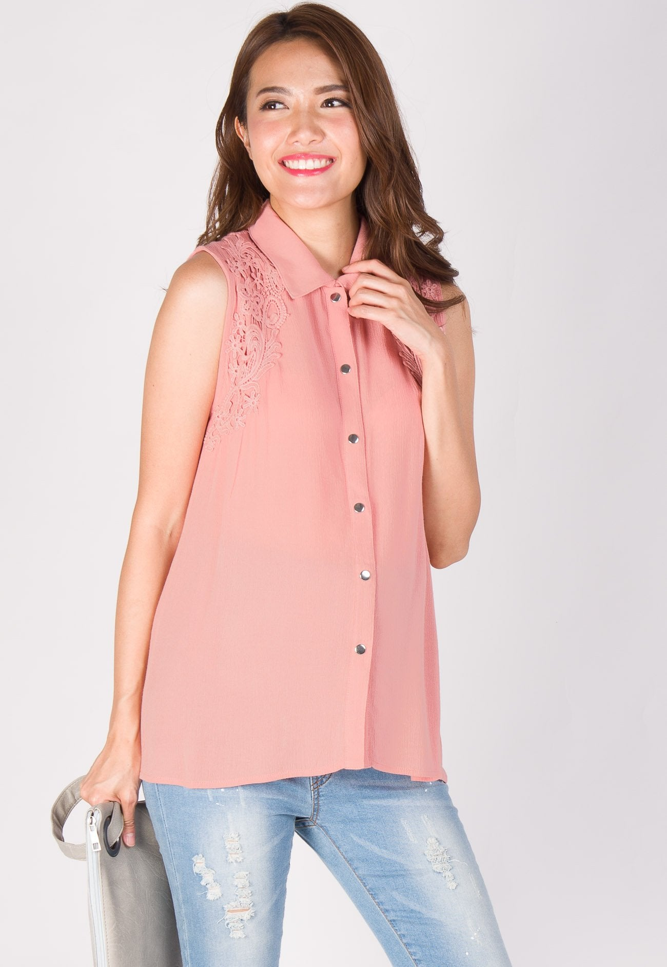 Lace Applique Nursing Blouse  by Jump Eat Cry - Maternity and nursing wear