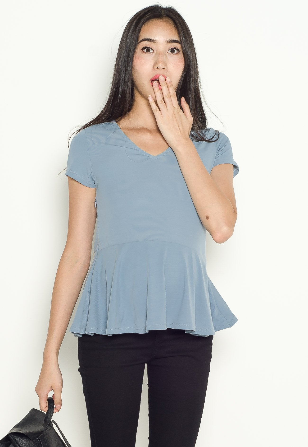 Lara Peplum Nursing Top in Blue  by Jump Eat Cry - Maternity and nursing wear