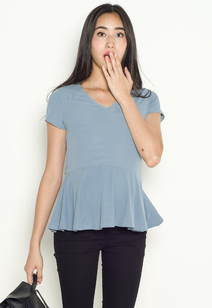 Lara Peplum Nursing Top in Blue