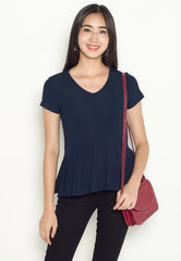 Lara Peplum Nursing Top in Navy  by Jump Eat Cry - Maternity and nursing wear