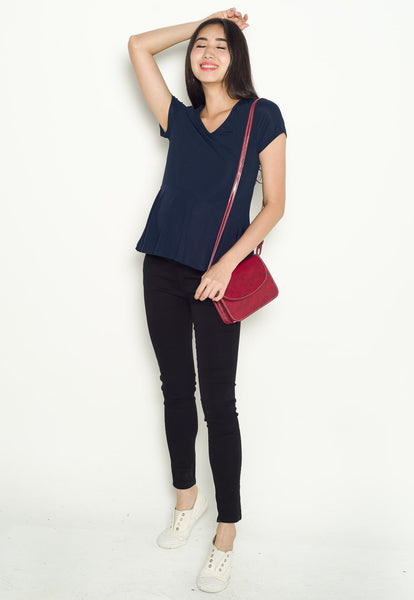 Lara Peplum Nursing Top in Navy