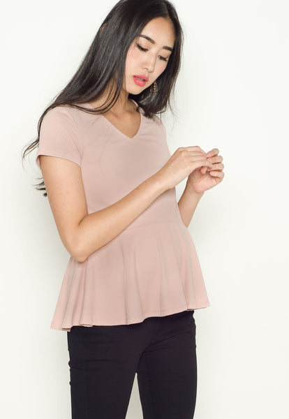 Lara Peplum Nursing Top in Pink
