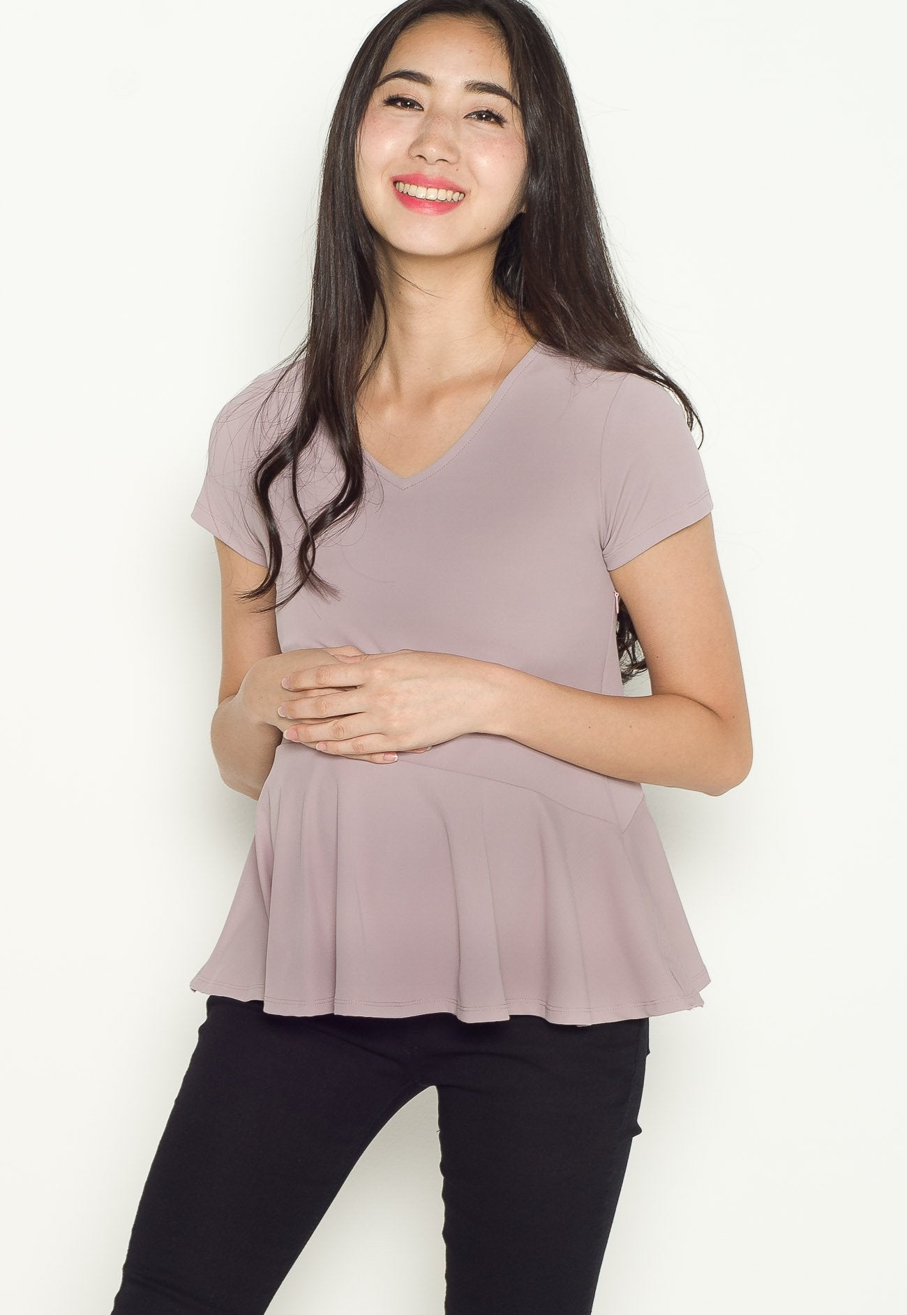Lara Peplum Nursing Top in Purple  by Jump Eat Cry - Maternity and nursing wear