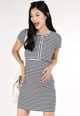 Lola Bodycon Nursing Dress in Navy  by Jump Eat Cry - Maternity and nursing wear
