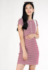 Lola Bodycon Nursing Dress in Red  by Jump Eat Cry - Maternity and nursing wear