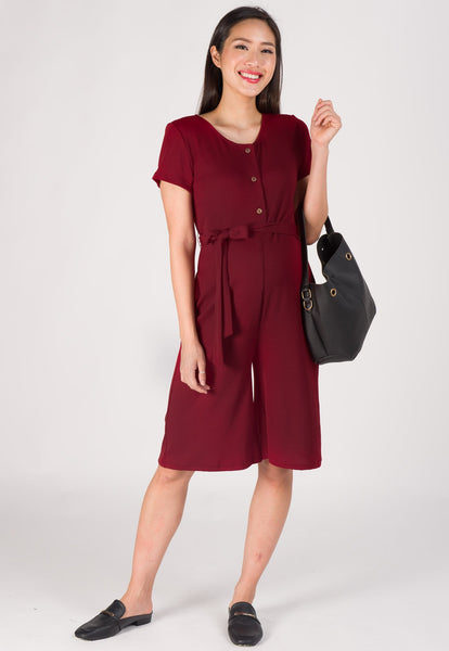 Lucy Knitted Nursing Jumpsuit in Dark Red