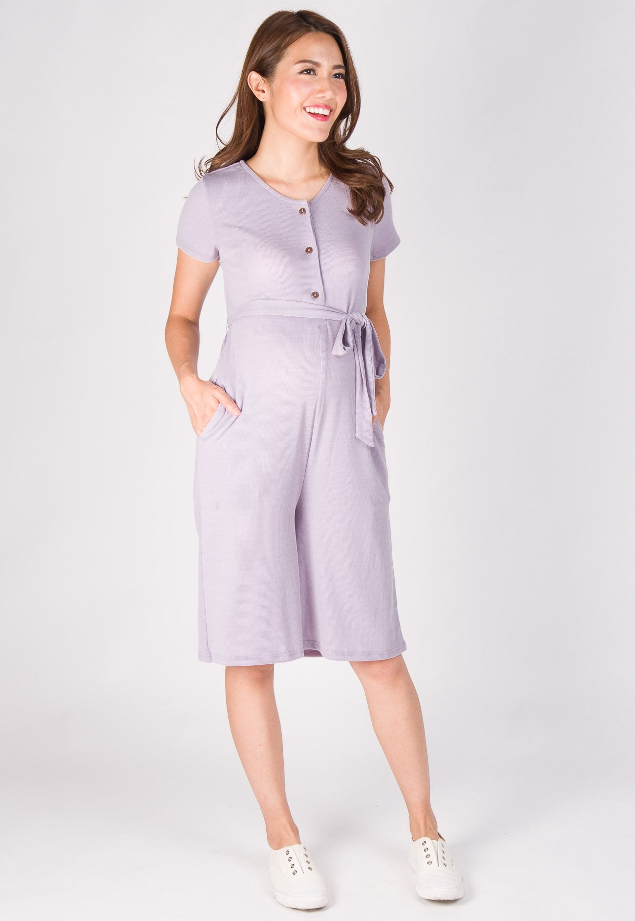Lucy Knitted Nursing Jumpsuit in Purple  by Jump Eat Cry - Maternity and nursing wear