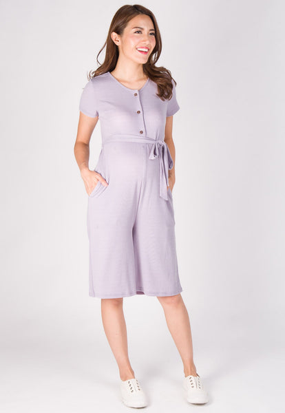 Lucy Knitted Nursing Jumpsuit in Purple