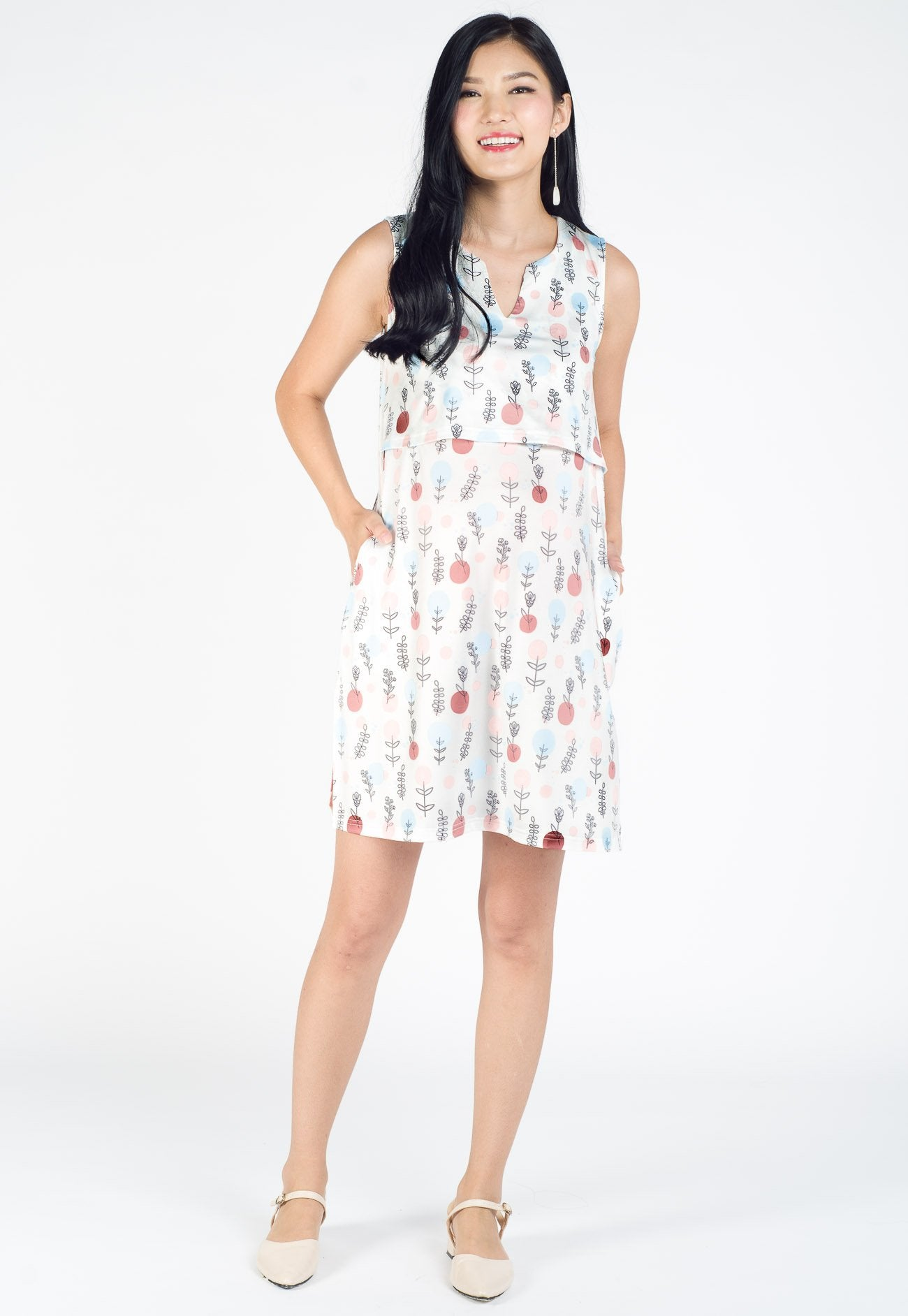 Lucy Printed Nursing Dress Nursing Wear Mothercot