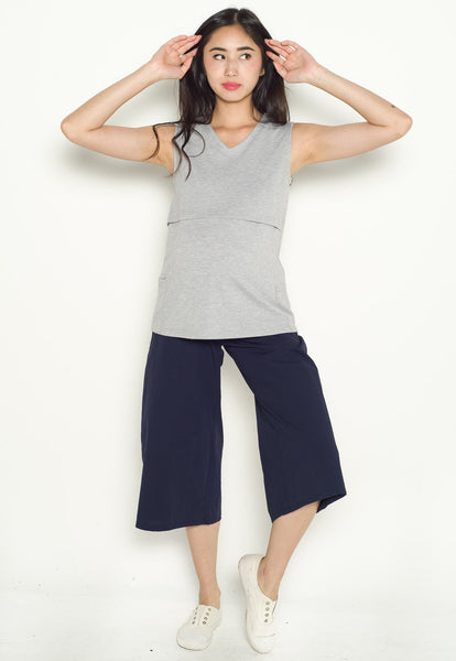 Lula Pocket Nursing Top in Grey