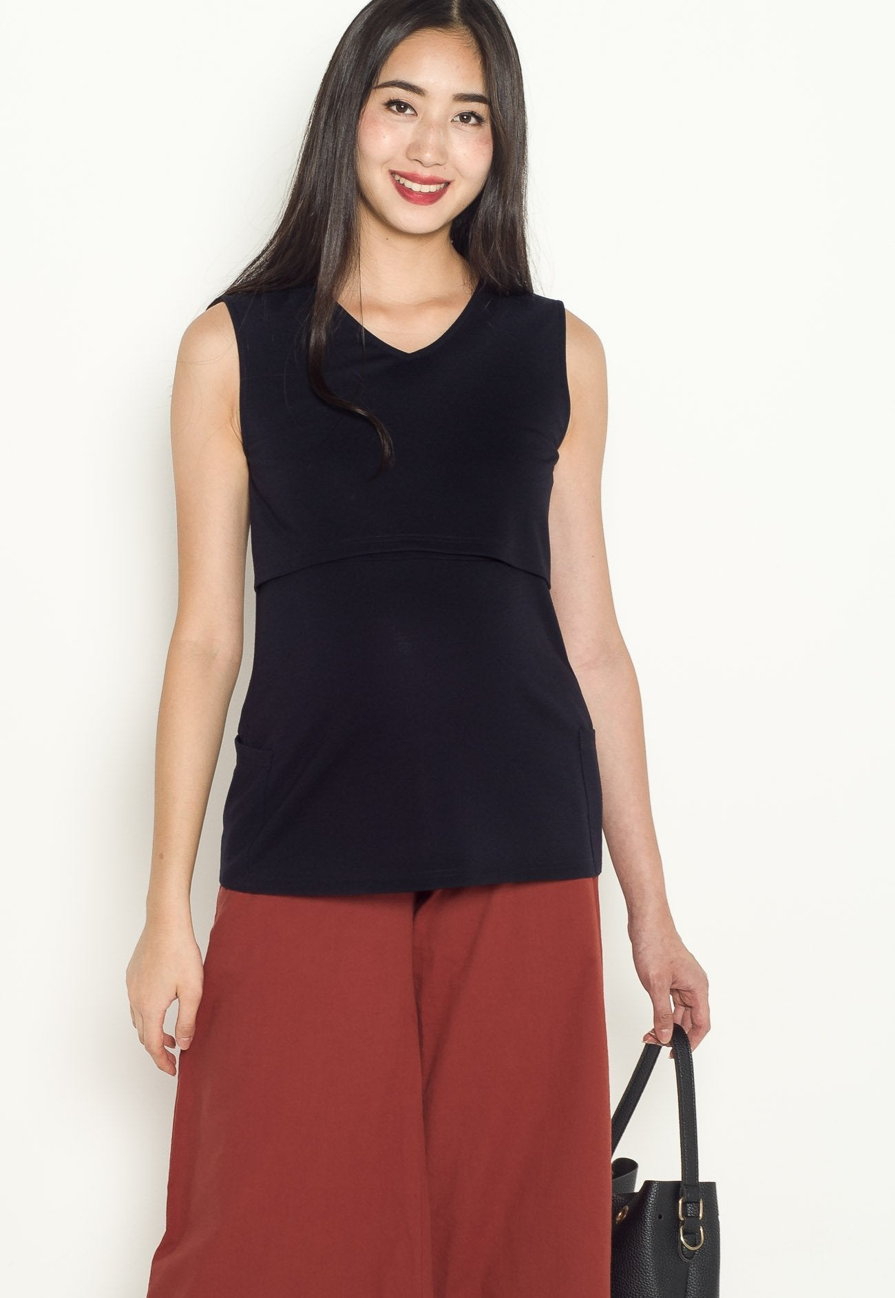 Lula Pocket Nursing Top in Navy  by Jump Eat Cry - Maternity and nursing wear