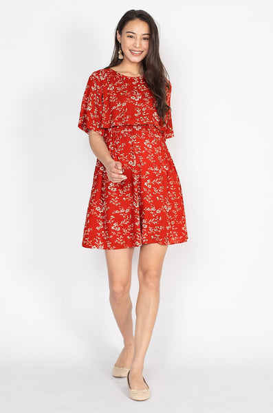 Mia Floral Nursing Dress in Red
