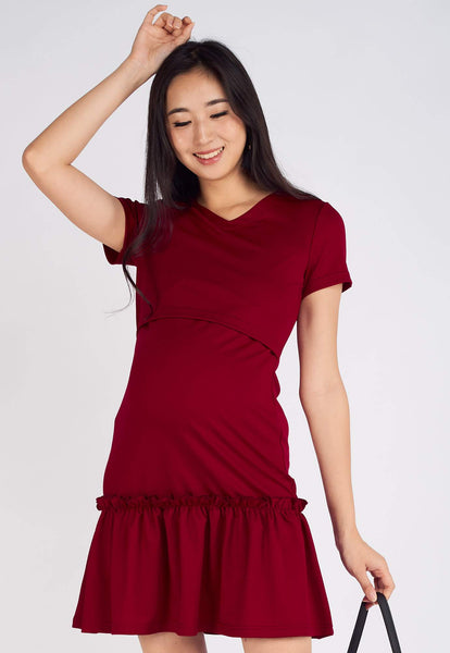 Talia Folded Pleat Hem Dress in Red