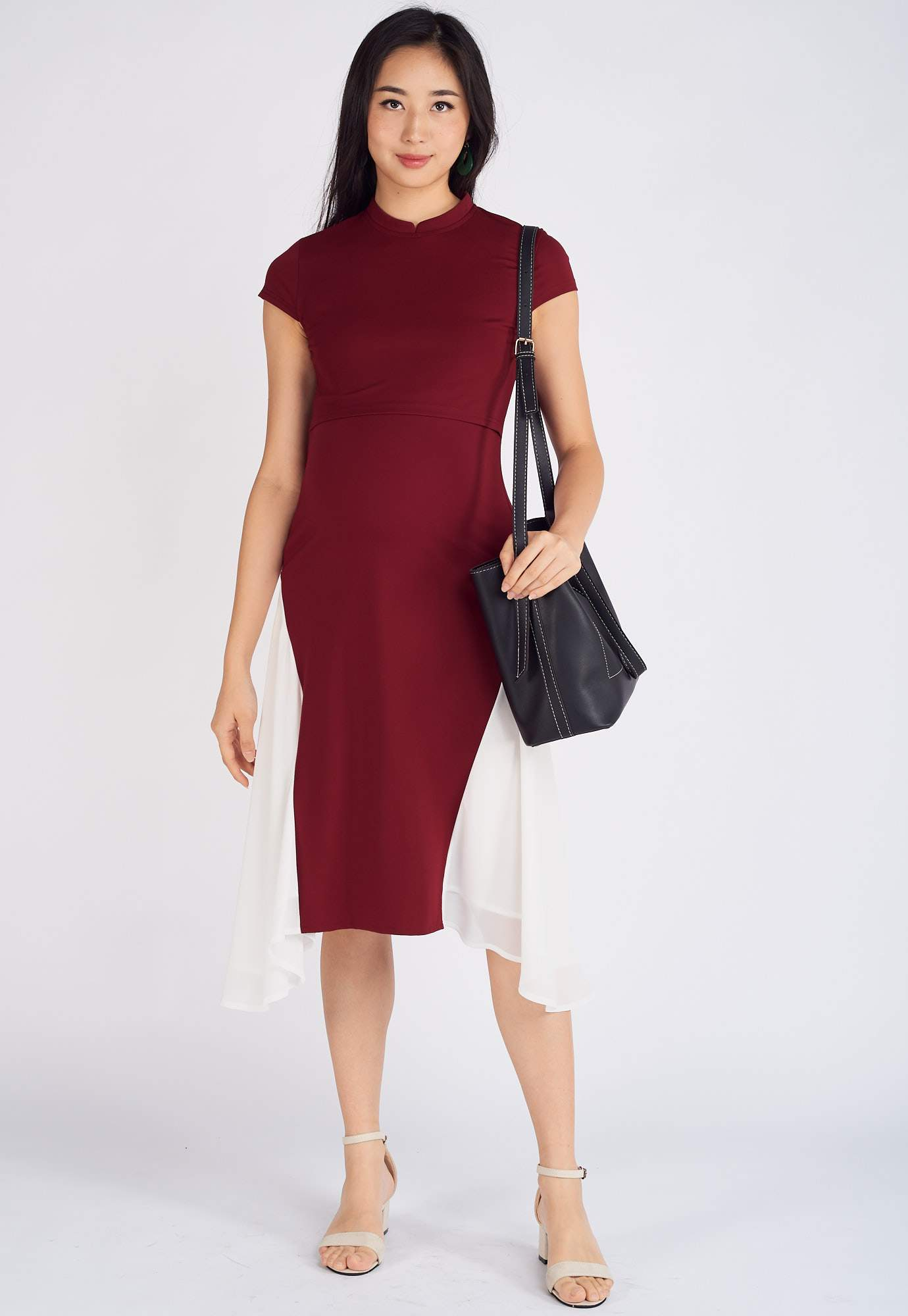 Nara Asymmetric Nursing Dress in Red  by Jump Eat Cry - Maternity and nursing wear