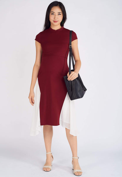 Nara Asymmetric Nursing Dress in Red