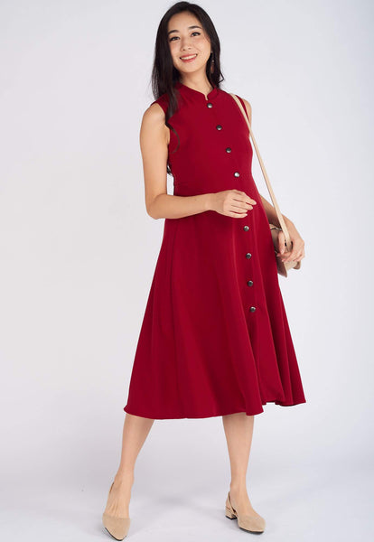 Mavis Mandarin Collar Nursing Dress in Red