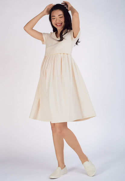 Pleated Jersey Nursing Dress in Beige