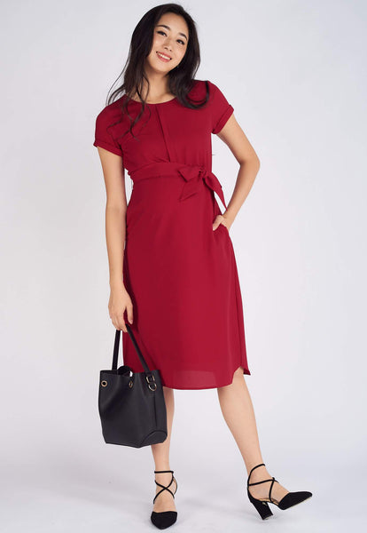Astrid Sashed Nursing Dress in Red