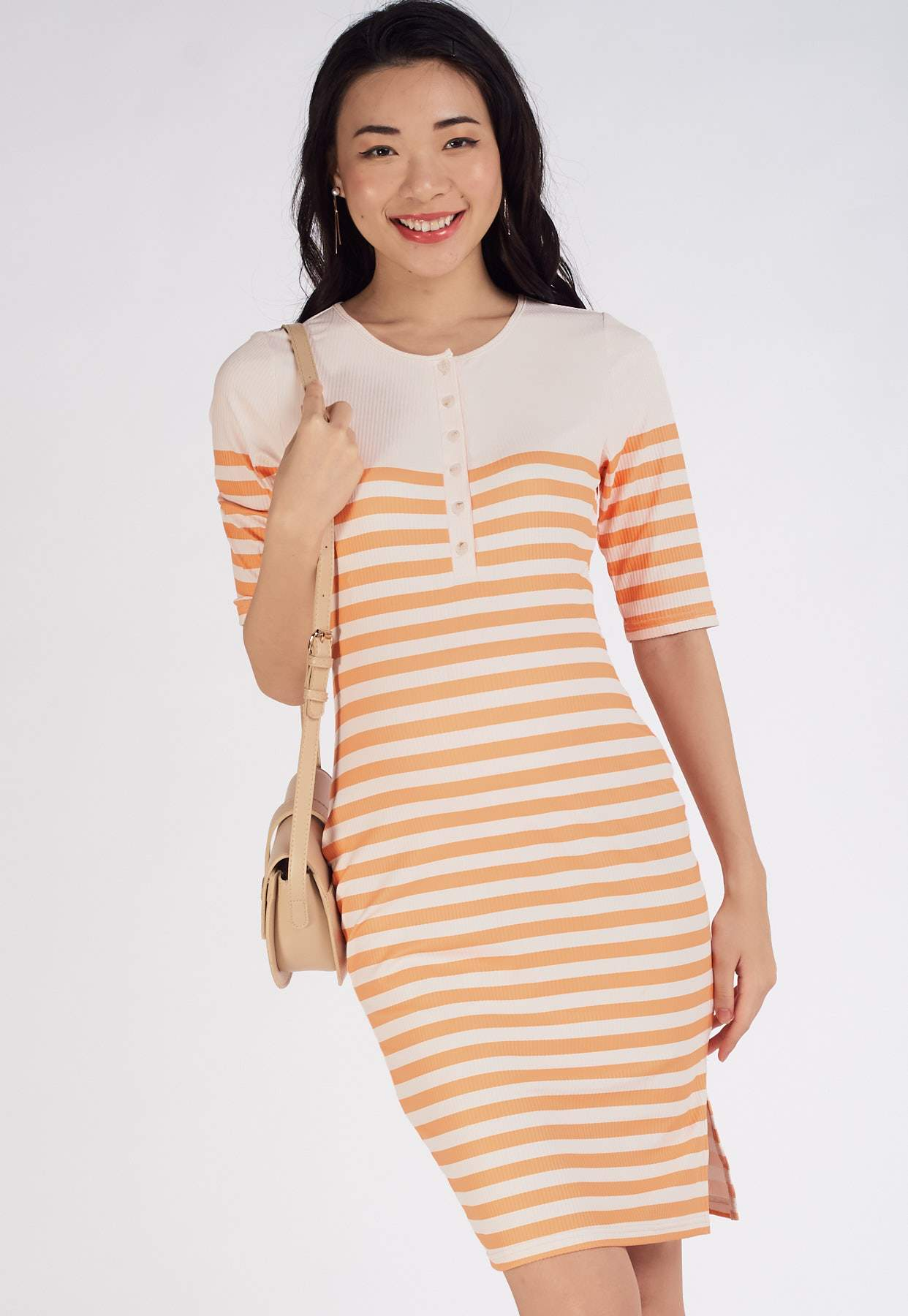 Elodie Ribbed Nursing Dress in Yellow  by Jump Eat Cry - Maternity and nursing wear