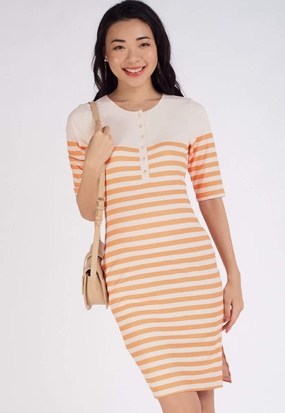 Elodie Ribbed Nursing Dress in Yellow