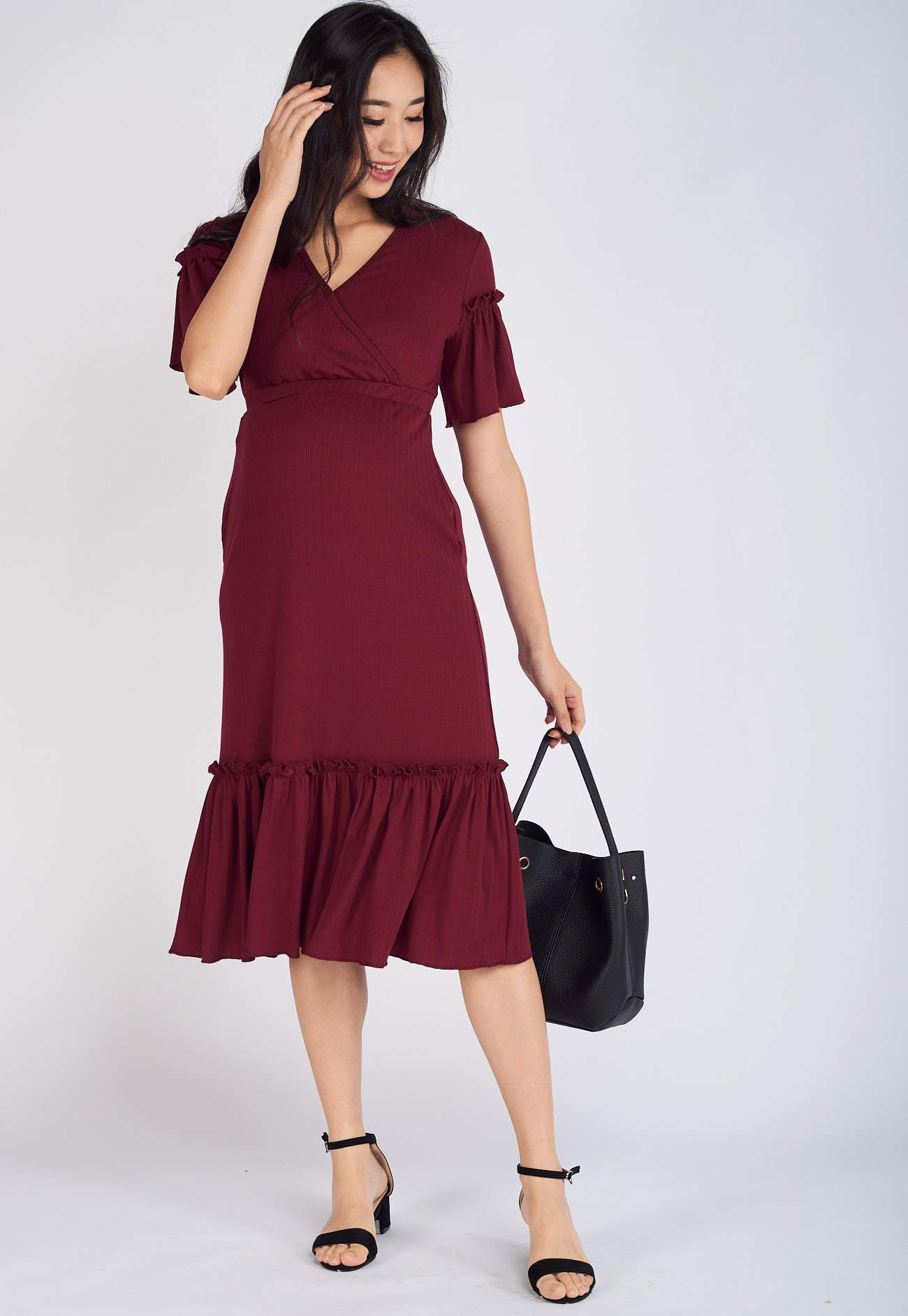 Rikku Ruffled Nursing Dress in Red  by Jump Eat Cry - Maternity and nursing wear
