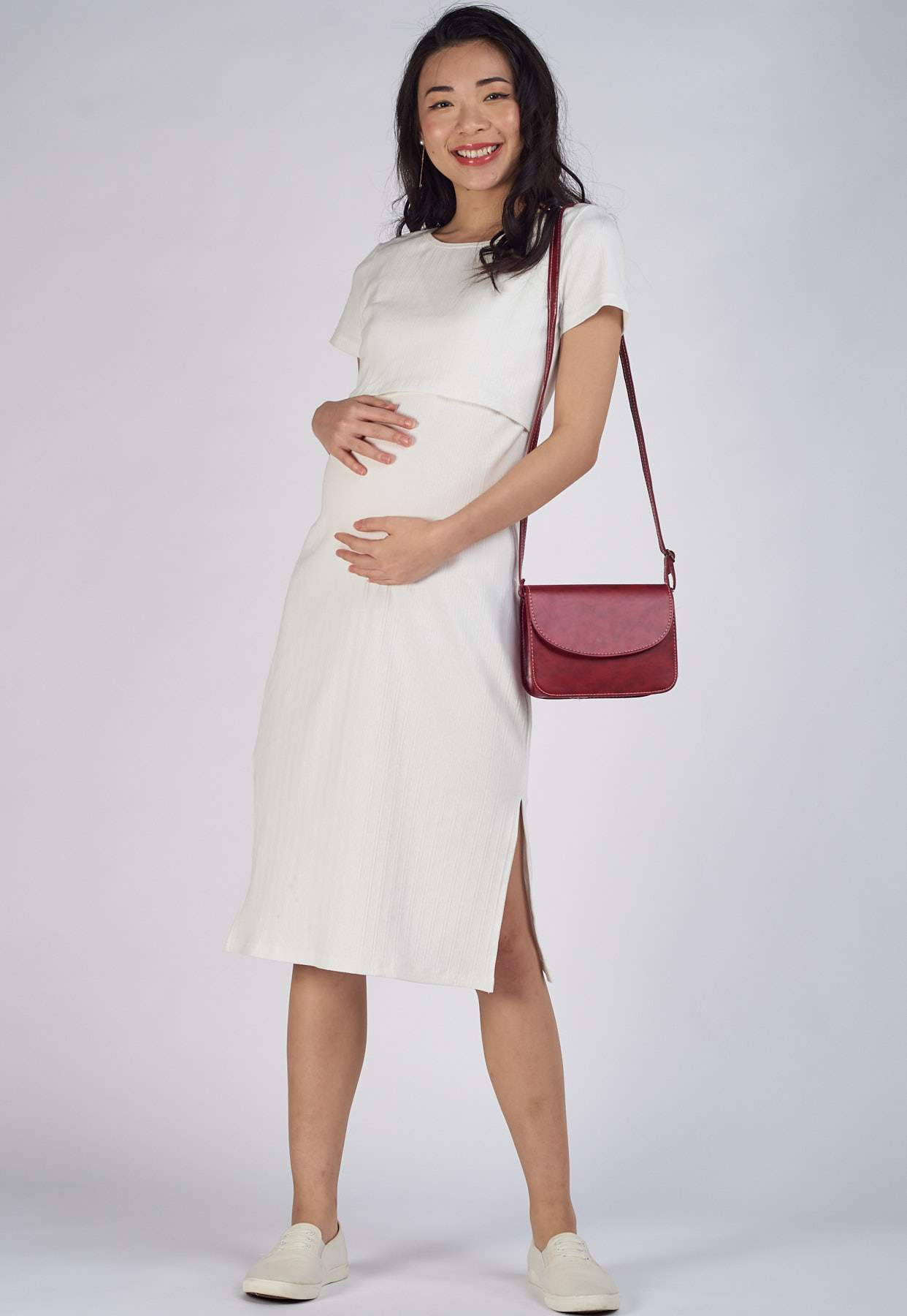 Leslie Ribbed Nursing Dress in White  by Jump Eat Cry - Maternity and nursing wear