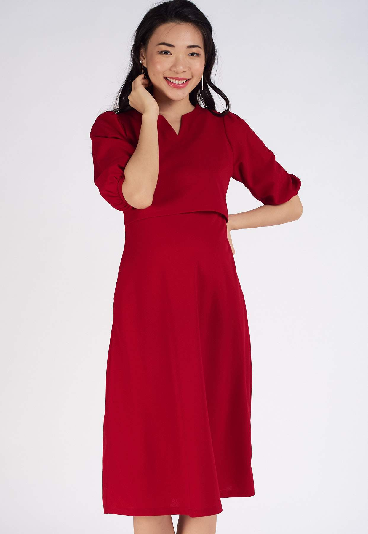 Raina Puff Sleeves Nursing Dress  by Jump Eat Cry - Maternity and nursing wear