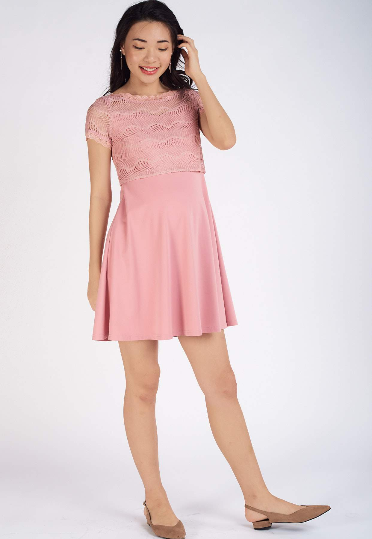 Patrice Lace Top Nursing Dress in Pink  by Jump Eat Cry - Maternity and nursing wear
