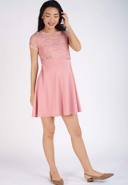Patrice Lace Top Nursing Dress in Pink