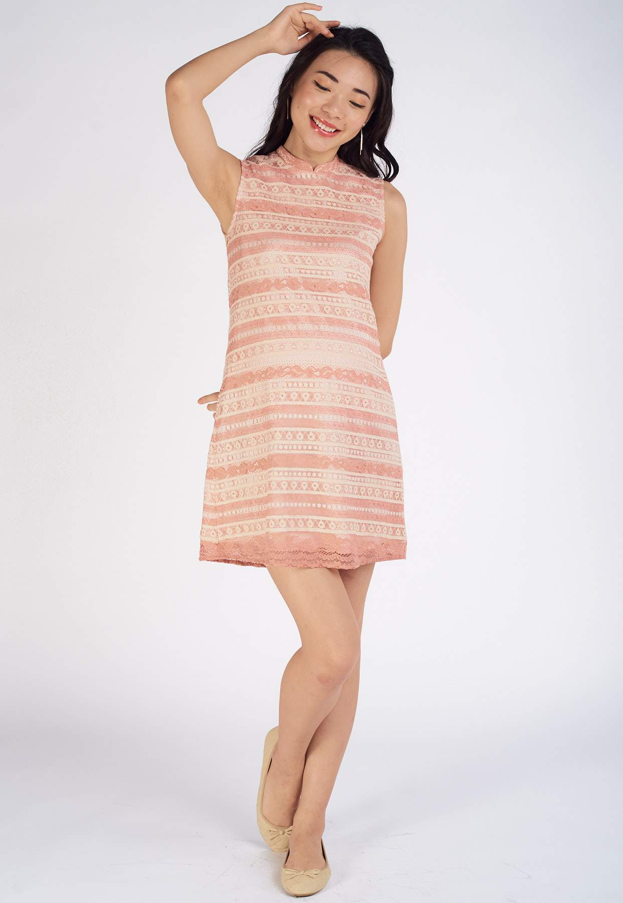 Tina Lace Nursing Dress in Pink  by Jump Eat Cry - Maternity and nursing wear
