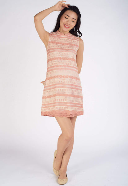 Tina Lace Nursing Dress in Pink