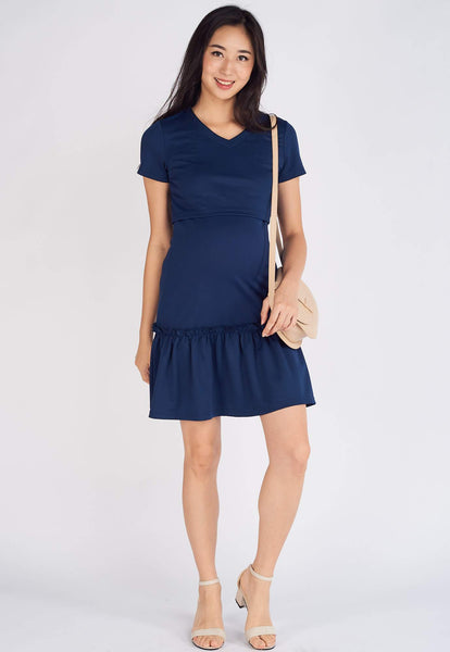 Talia Folded Pleat Hem Dress in Navy